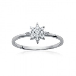 Bague en argent massif 925 rhodié étoile pavé en zirconium blanc Obrillant-Bijoux