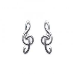 Boucles d'oreilles puces en argent 925/000 rhodié clé de sol musique obrillant-bijoux