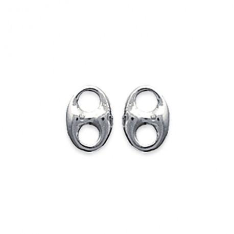Boucles d'oreilles puces en argent 925/000 grain de café style mixte obrillant-bijoux