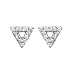 Boucles d'oreilles puces en argent 925/000 rhodié triangle pavé zirconium obrillant-bijoux
