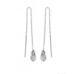 Boucles chaines d'oreilles longues en argent 925/000 rhodié guyanaises ananas obrillant-bijoux