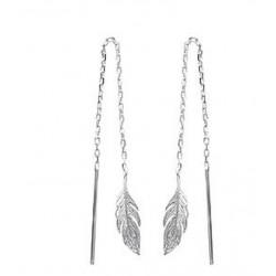 Boucles chaines d'oreilles longues en argent 925/000 rhodié guyanaises plumes obrillant-bijoux