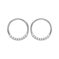 Boucles d'oreilles en argent massif 925/000 rhodié anneaux pavé en zirconium obrillant-bijoux