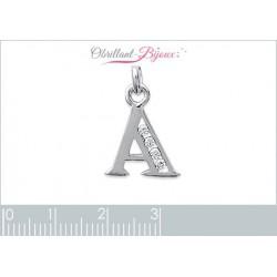 pendentif argent 925 rhodié lettre A pavé zirconium Obrillant-Bijoux