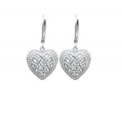 Boucles d'oreilles dormeuses en argent 925/000 rhodié coeur pavé en zirconium obrillant-bijoux