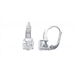 Boucles d'oreilles dormeuses argent 925/000 rhodié pierre ronde en zirconium blanc obrillant-bijoux