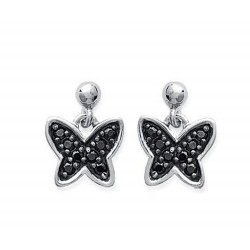 Boucles d'oreilles en argent 925/000 rhodié papillon pavé en zirconium noir obrillant-bijoux