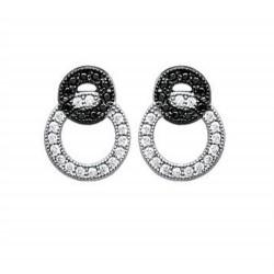 Boucles d'oreilles en argent 925/000 rhodié anneaux entrelacés pavé en zirconium blanc et noir obrillant-bijoux