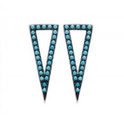 Boucles d'oreilles pendantes en argent 925/000 rhodié triangle pavé en turquoises bleu de synthèse obrillant-bijoux