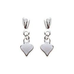 Boucles d'oreilles en argent 925/000 petit coeur ciselé obrillant-bijoux