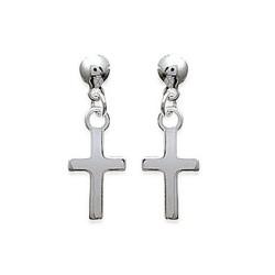 Boucles d'oreilles en argent 925/000 petite croix ciselée obrillant-bijoux