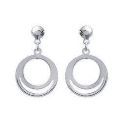 Boucles d'oreilles en argent 925/000 anneaux ciselés ajourés obrillant-bijoux