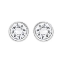 Boucles d'oreilles puces en argent 925/000 pierre ronde serti clos 3 mm en cristal blanc obrillant-bijoux