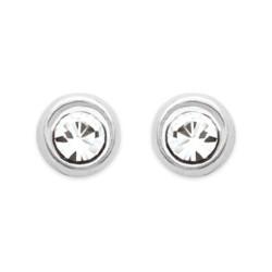 Boucles d'oreilles puces en argent 925/000 pierre ronde serti clos 2 mm en cristal blanc obrillant-bijoux