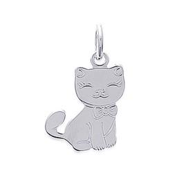 Pendentif enfant argent massif 925 petit chat obrillant-bijoux