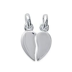 Pendentif argent massif 925/1000 rhodié sécable petit coeur mode obrillant-Bijoux