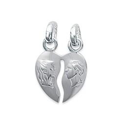 Pendentif détachable argent massif 925/1000 rhodié sécable coeurs gravure inscription homme - femme obrillant-bijoux