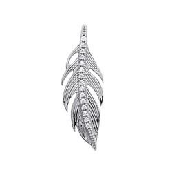 Pendentif argent massif 925/1000 rhodié fine plume pavé en zirconium blanc obrillant-bijoux