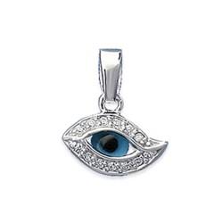 Pendentif en argent 925/000 rhodié oeil bleu de la chance pavé en zirconium Turquie