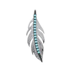 Pendentif en argent 925/000 rhodié plume pavé en turquoise de synthèse obrillant-bijoux
