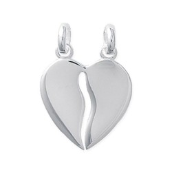Pendentif en argent 925/000 coeur sécable ciselé obrillant-bijoux