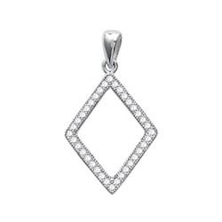 Pendentif argent 925 rhodié losange ciselé pavé en zirconium blanc obrillant-bijoux