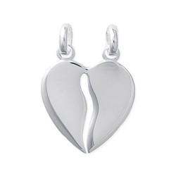 Pendentif en argent 925/000 rhodié coeur sécable ciselé obrillant-bijoux