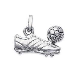 Pendentif argent 925 rhodié crampon ballon de football ciselé  obrillant-bijoux
