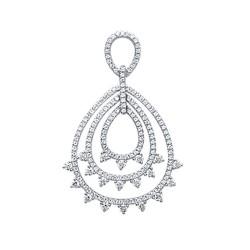 Pendentif argent 925 rhodié trois anneaux pavé en zirconium obrillant-bijoux