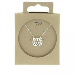 Collier tête de tigre lion animal argenté style géométrique graphique 7bis Obrillant-Bijoux