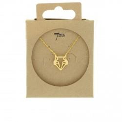 Collier tête de renard  animal doré style géométrique origami 7bis Obrillant-Bijoux