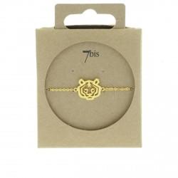 Bracelet tête de tigre lion animal doré style géométrique graphique 7bis Obrillant-Bijoux