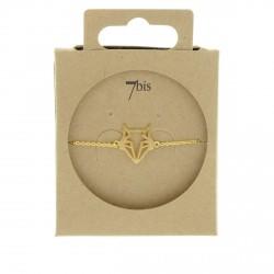 Bracelet tête de renard  animal doré style géométrique origami 7bis Obrillant-Bijoux