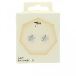Boucles d'oreilles puces étoiles en acier inoxydable argenté 7bis Obrillant-Bijoux