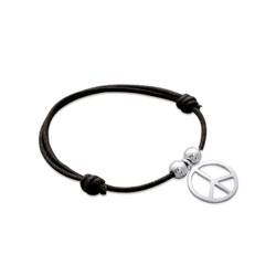 Bracelet cordon réglable argent massif 925/1000 Peace and love en pampille obrillant-bijoux