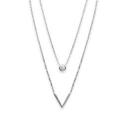 Collier argent massif 925 rhodié deux rangs pierres en zirconium motif V obrillant-bijoux
