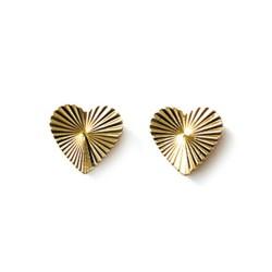 Boucles d'oreilles puces plaqué or cœur ciselé strié mode obrillant-bijoux