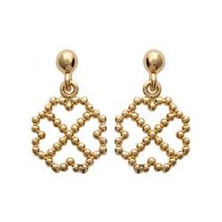 Boucles d'oreilles plaqué or trèfles perlés billes obrillant-bijoux
