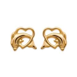 Boucles d'oreilles enfant puces plaqué or cœurs dauphins obrillant-bijoux