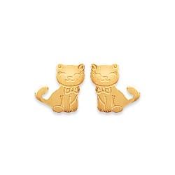 Boucles d'oreilles enfant puces en plaqué or petits chats ciselés mode