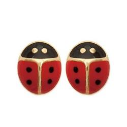 Boucles d'oreilles puces plaqué or enfant coccinelle Email rouge obrillant-bijoux