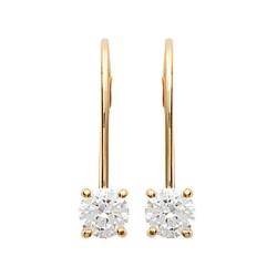 Boucles d'oreilles plaqué or style dormeuse pierre ronde zirconium obrillant-bijoux