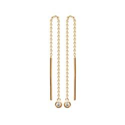Boucles d'oreilles en plaqué or longues guyanaise fines pierres serties zirconium obrillant-bijoux