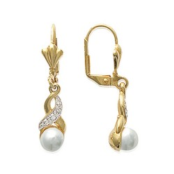 Boucles d'oreilles dormeuses plaqué or perle synthèse pavé zirconium obrillant-bijoux