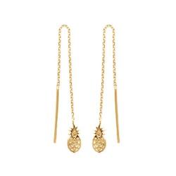 Boucles d'oreilles longues plaqué or ananas ciselés mode obrillant-bijoux