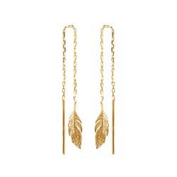 Boucles d'oreilles longues plaqué or plume ciselé obrillant-bijoux