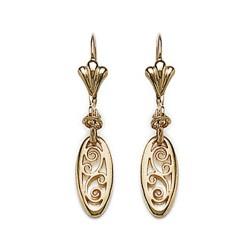 Boucles d'oreilles dormeuses plaqué or maillon ovale ciselé obrillant-bijoux