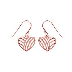Boucles d'oreilles plaqué or rose cœur ciselé strié style moderne obrillant-bijoux