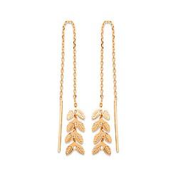 Boucles d'oreilles plaqué or longues chainette épis feuilles de laurier obrillant-bijoux