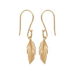 Boucles d'oreilles plaqué or pendantes plumes ciselés obrillant-bijoux